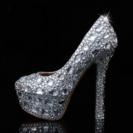 Shining Crystal Stiletto Heels Wedding Shoes