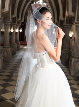Concise Ivory Wedding Veil