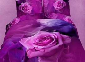 Amazing Purple Roses 3D Bedding Sets 4-Piece