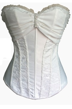 White/Black Rhinestone-Decorated Lace Corset