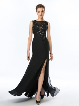 Beading Applique Floor Length Evening Dress