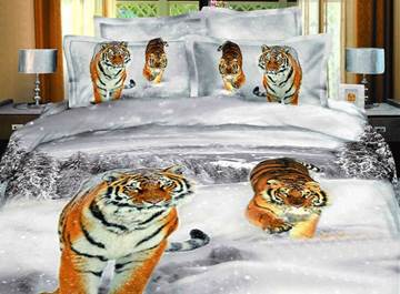 Fantastic 3D Tigers in the Snow Printing 4 Piece Cotton Bedding Sets