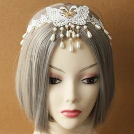 Wonderful Butterfly Pearl Pendant Lace Hair Band for Women