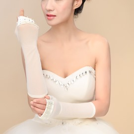 Beaded Edge Ivory Long Sleeve Wedding Gloves