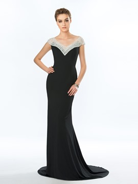 Classy Mermaid V-Neck Sheer Neck Court Train Evening Dress