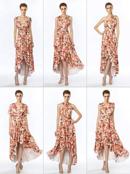 Flower Print Convertible Asymmetry Evening Dress