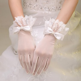 Classy Scalloped Lace Trim Beaded Bowknot Ivory Wedding Gloves