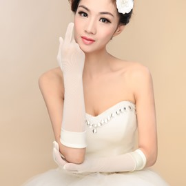Concise Ivory Long Wedding Gloves