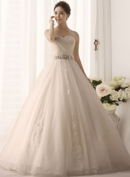 Simple Beading Ball Gown Wedding Dress