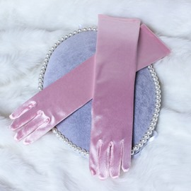 Classic Plain Pink Satin Flower Girl Gloves