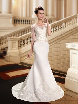 Classy Scoop Beading Wedding Dress with Sleeves