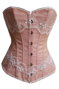 Pink/Green Floral Embroidery Lace Corset