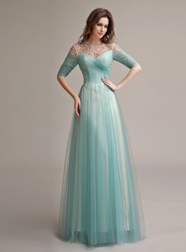 Stunning See-Through Neck Beading A-Line Prom Dress