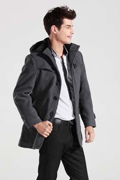 Single-Breasted Hooded Long Sleeve Overcoat