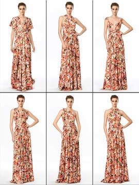 Stylish Made-To-Order Floral Printed Convertible Evening Dress