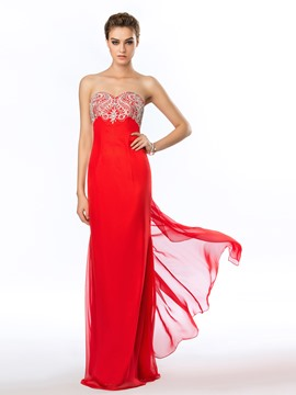 Exquisite Sweetheart A-Line Crystal Floor-Length Prom Dress