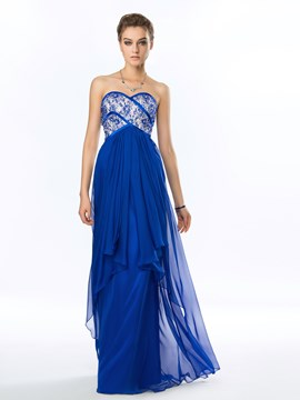 Delicate Beading Strapless Chiffon Long Evening Dress