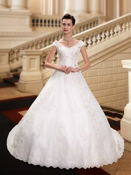 Charming V-Neck Cap Sleeves Appliques Court Train Wedding Dress