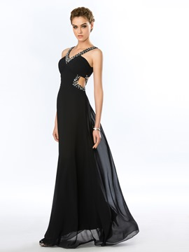 Charming Beaded Spaghetti Straps Criss-cross Back Black Long Evening Dress