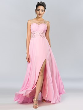 Attractive Bateau Beading Pearls A-Line Split-Front Long Prom Dress