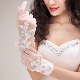 Appliques Sequin Short Wedding Gloves