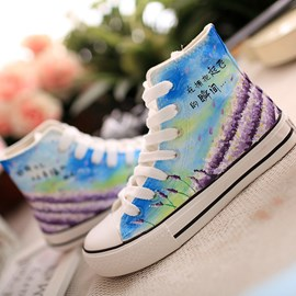 Pretty Lace-up Hand-painted Casual Flats
