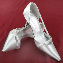 Point Toe Ankle Strap Low Heel Wedding Shoes