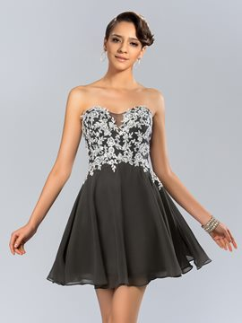 Shinning A-Line Strapless Applique Tulle Short Prom/Cocktail Dress