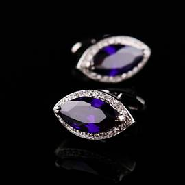 Classical Personalized Charming Rhineston Men's Cufflinks (Purple