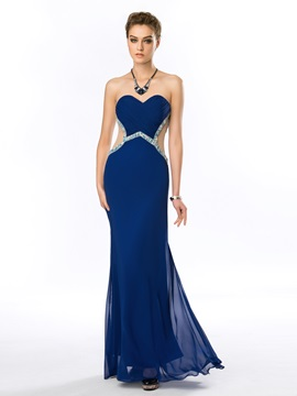 Modern Sweetheart Beading Pleats Long Evening Dress