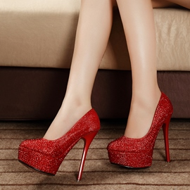 Amazing Crystal Solid Color High Heel Prom Shoes