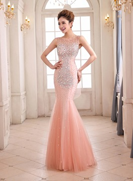 Pretty Sheath Jewel Neck Beaded Bowknot Tulle Evening Dress