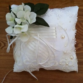 Square Ring Pillow With Ribbons Flowers Lace Pearl