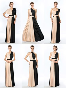 Concise Convertible A-Line Floor Length Evening Dress