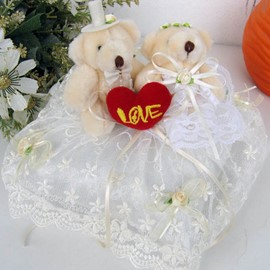 Couple Bear Love Ring Pillow