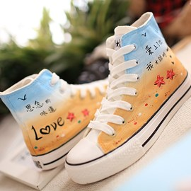 Lace-up Hand-painted Canvas Shoes