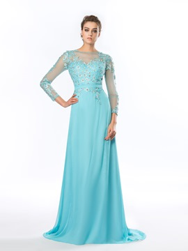 A-Line Bateau Neck Appliques Beadings Long Sleeves Evening Dress