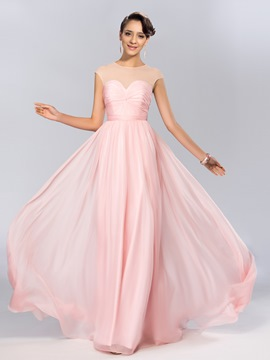 Concise A-line Jewel Sequins Ruched Floor-Length Evening Dress