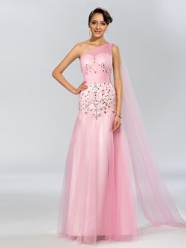 Trumpet One-Shoulder Beading Long Evening Dress