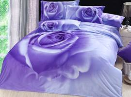 Romantic Purple Rose 3D Bedding Sets 4 Piece