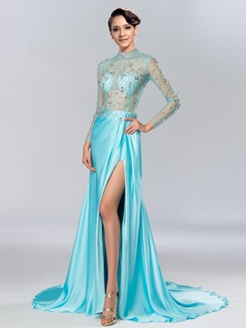 Fascinating Side-Split High Collar Long Sleeves Sheath Evening Dress