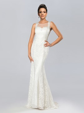 Mermaid Bateau Neck Lace Beadings Evening Dress