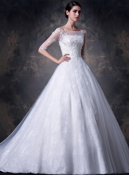 Bateau Appliques Lace Wedding Dress with Sleeves