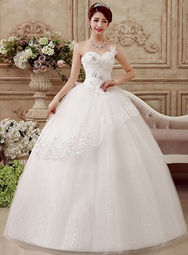 Beading Strapless Ball Gown Wedding Dress