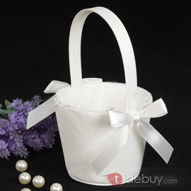 Pure Flower Basket in Satin With Bow