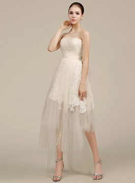 Simple Strapless High Low Lace Wedding Dress