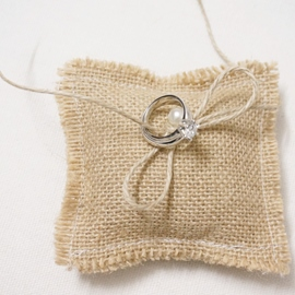 Vintage Mini Linen Rope Ring Pillow