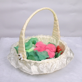 Bamboo Flower Basket With Satin Lining