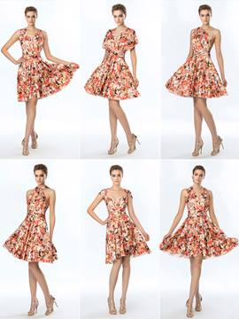 Flower Knee-Length Printing Short Convertible Dress