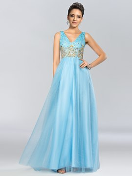Shiny V-Neck Beading Backless A-Line Long Prom Dress